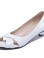 Women's Shoes Patent Leather Low Heel Peep Toe / Open Toe Sandals Office & Career / Dress / Casual Black / Blue / Pink