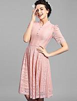 Baoyan® Women's Stand Short Sleeve Above Knee Dress-160079