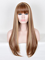 Popular European Lady Ombre Color Long Straight Synthetic Hair