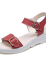 Women's Shoes Leather Flat Heel Comfort Sandals Casual Blue / Red / White