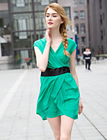 Zishangbaili® Women's V Neck Sleeveless Above Knee Dress-XZ52094