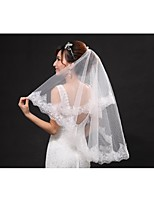 Wedding Veil One-tier Fingertip Veils Cut Edge / Lace Applique Edge