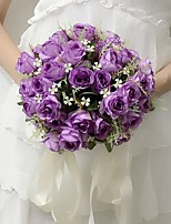 Bouquets de Noiva Redondo Rosas Buquês Casamento / Festa / noite Fúcsia / Roxo / pêssego Cetim 9.84