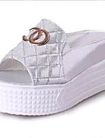 Chaussures Femme-Extérieure / Habillé / Décontracté-Noir / Blanc / Argent-Plateforme-Chaussons-Sandales / Chaussons-PU