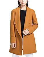 Women's Casual/Daily Simple / Street chic Pea Coats,Solid Long Sleeve Red / Brown / Gray Wool