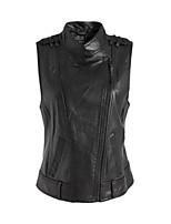 Vestes en Cuir Aux femmes Normal Sans Manches Vintage Polyuréthane
