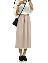 Women's Solid Pink / Beige / Black Skirts,Casual / Day / Street chic Midi