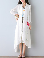 Women's Floral White Elegent Long Sunscreen Shawl Coat,Street chic ¾ Sleeve Cotton / Linen
