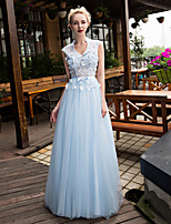 Formal Evening Dress-Sky Blue A-line V-neck Sweep/Brush Train Lace / Tulle