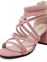 Women's Shoes Fleece Summer Heels Outdoor / Casual Chunky Heel Zipper Black / Pink