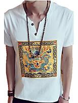 Herren Freizeit T-Shirt - Druck Kurz Leinen