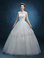 A-line Wedding Dress-Floor-length Jewel Lace / Tulle