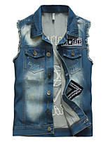 Men's Korean Fashion Personality Printing Slim Fit Washed Denim Vest,Cotton/Fashion/Jeans