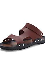 Zapatos de Hombre-Sandalias / Sin Cordones-Exterior / Casual-Cuero-Negro / Marrón / Champán