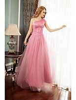 Formal Evening Dress Ball Gown One Shoulder Floor-length Tulle with Appliques