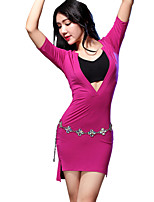 Belly Dance Dresses Women's Training Modal Split Front 1 Piece Black / Blue / Fuchsia / Burgundy / Light Gray Belly DanceShort Sleeve /