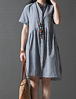 Women's Casual/Daily / Plus Size Vintage / Simple Loose Dress,Check Stand Above Knee Short Sleeve Blue / Red / Black Rayon All Seasons