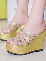 Chaussures Femme-Habillé / Décontracté-Argent / Or-Talon Compensé-Confort / Bout Ouvert-Sandales-Similicuir