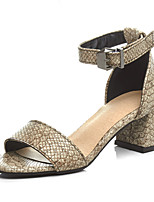 Women's Shoes PU Chunky Heel Peep Toe / D'Orsay & Two-Piece / Open Toe Sandals Office & Career / Dress / Casual