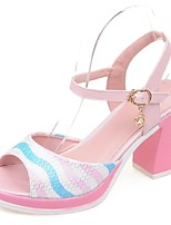 Women's Shoes Chunky Heel Peep Toe Sandals Party & Evening / Dress / Casual Blue / Pink / White