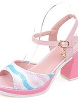 Scarpe Donna-Sandali-Formale / Casual / Serata e festa-Spuntate-Quadrato-Finta pelle-Blu / Rosa / Bianco