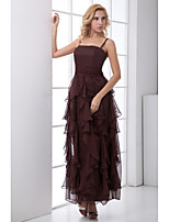 Formal Evening Dress-Chocolate A-line Spaghetti Straps Ankle-length Chiffon
