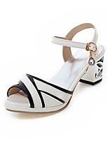 Scarpe Donna-Sandali-Formale-Spuntate-Quadrato-Finta pelle-Nero / Bianco