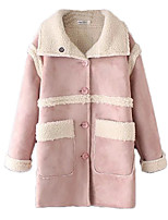 Women's Color Block Pink Coat,Simple Long Sleeve Polyester
