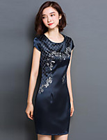 Women's Simple Print Plus Size / Shift Dress,Round Neck Above Knee Silk / Polyester