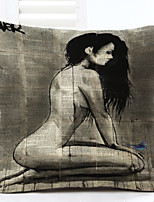 Novelty Nude Lady Pattern Linen Pillowcase Sofa Home Decor Cushion Cover (18*18inch)