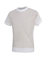 Men's Solid / Patchwork Casual / Sport T-Shirt,Cotton / Polyester Short Sleeve-Black / White