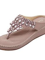Women's Shoes Sweet Bohemian Style Glisten Wedge Heel Flip Flops / Comfort Sandals Dress / Casual