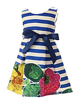 Girl's Blue / Red Dress,Floral / Bow / Stripes Polyester Spring / Fall