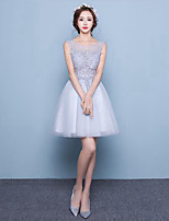 A-line Wedding Dress-Short/Mini Scoop Lace / Tulle