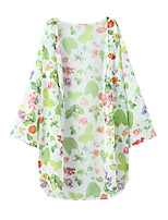 Women's Casual/Daily Simple Jackets,Print Round Neck ¾ Sleeve Pink / Green Polyester