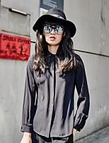 S29® Women's Shirt Collar Long Sleeve Shirt & Blouse Black-6AC08SL370021