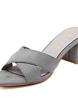 Damenschuhe-Sandalen / Pantoffeln-Outddor / Lässig-Vlies-Blockabsatz-Absätze-Schwarz / Grau