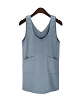 Women's Plus Size / Casual/Daily Street chic Denim Dress,Solid Round Neck Above Knee Sleeveless Blue Cotton Summer