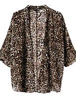 Women's Leopard Brown Cloak/Capes,Sexy V Neck ½ Length Sleeve