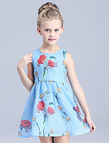 Girl's Blue / White Dress,Print Cotton / Polyester Summer / Spring