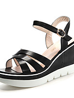 Women's Shoes Synthetic Wedge Heel Peep Toe Sandals Office & Career / Party & Evening / Dress / Casual Black / Pink
