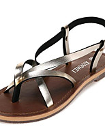 Women's Shoes Leatherette Summer Comfort Outdoor / Casual Flat Heel Buckle Black / Silver / Gold