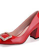 Chaussures Femme-Décontracté-Noir / Rouge / Gris / Peau-Gros Talon-Talons-Talons-Laine synthétique