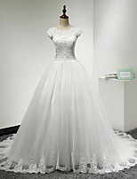 A-line Wedding Dress-Ivory Chapel Train Jewel Lace / Tulle