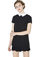 Haoduoyi® Women's Shirt Collar Short Sleeve Above Knee Retro Dress (Black)-15151A842