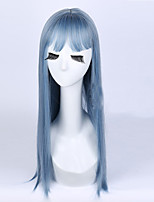The New Blue Grey Melange Neat Bang Long Straight Hair Wigs