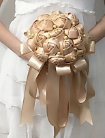 Wedding Flowers Round Roses Bouquets Wedding / Party/ Evening White / Champagne Satin 9.06