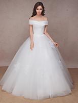 Princess Wedding Dress-White Floor-length Off-the-shoulder / Organza