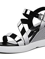 Chaussures Femme-Bureau & Travail / Habillé / Décontracté-Argent / Champagne-Talon Compensé-Compensées / Bout Ouvert-Sandales-Synthétique