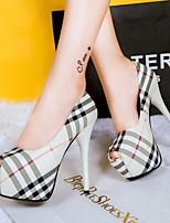 Chaussures Femme-Bureau & Travail / Habillé-Noir / Beige / Amande-Talon Aiguille-Talons / Bout Ouvert-Talons-Similicuir
